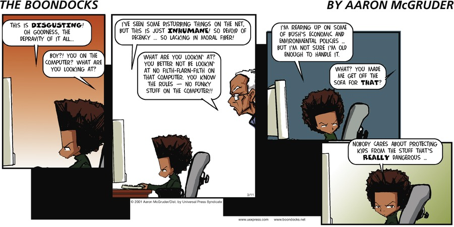 The Boondocks for Mar 11, 2001 Comic Strip