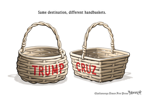 Picture of two handbaskets, one labeled