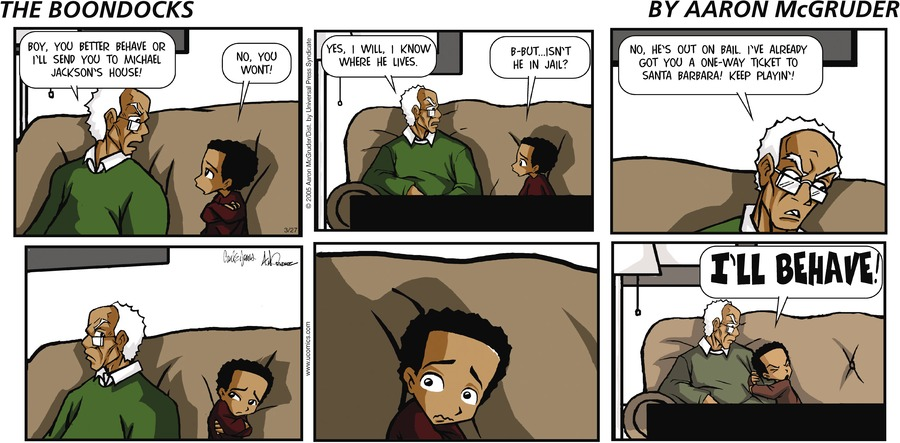 The Boondocks Comic Strip for March 27, 2005
