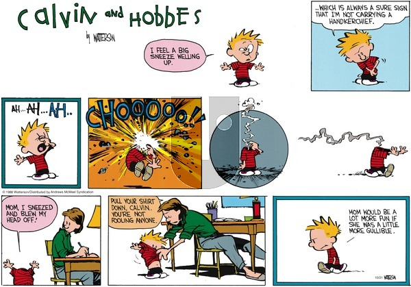 Calvin and Hobbes - Sunday October 21, 2018 Comic Strip