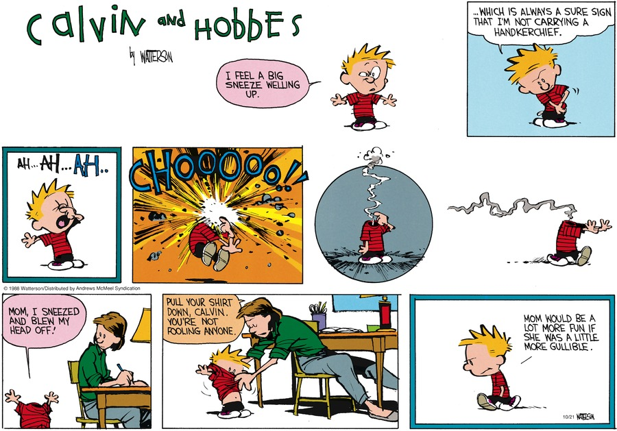 Calvin and Hobbes Comic Strip for October 21, 2018