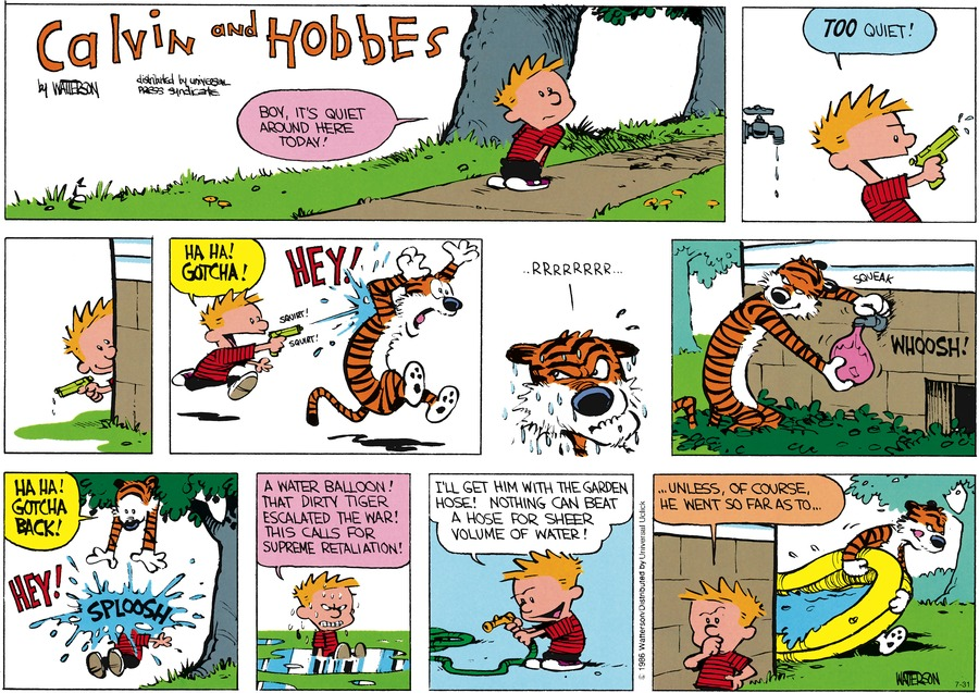 Calvin and Hobbes Comic Strip for July 31, 2016