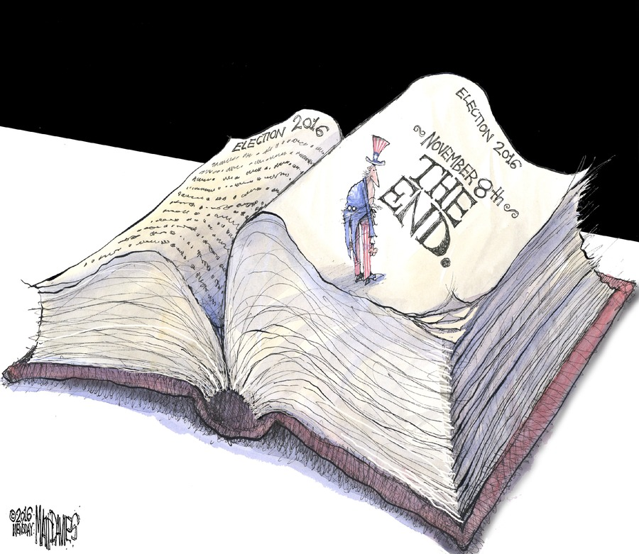 """Uncle Sam is halfway through a long book. The page he stands on reads """"Election 2016 November 8th The End."""""""