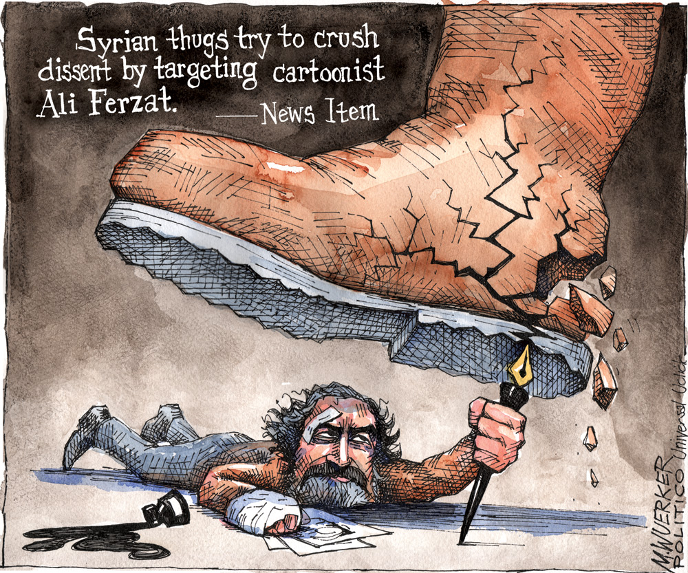 Syrian thugs try to crush dissent by targeting cartoonist Ali Ferzat. -News Item