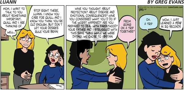Luann on Sunday January 31, 2016 Comic Strip