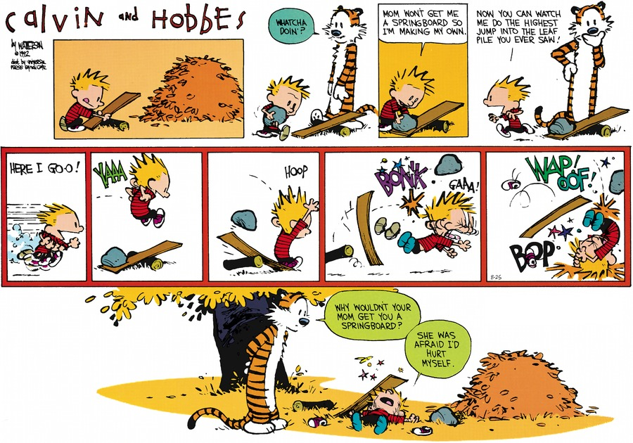 Hobbes: Whatcha doin'? Calvin: Mom won't get me a springboard so I'm making my own. Now you can watch me do the highest jump into the leaf pile you ever saw. Here I go-o! Yaaaa. Hoop.  Bonk. Gaa! Wap Oof! Bop. Hobbes: Why wouldn't your mom get you a springboard? Calvin: She was afraid I'd hurt myself.