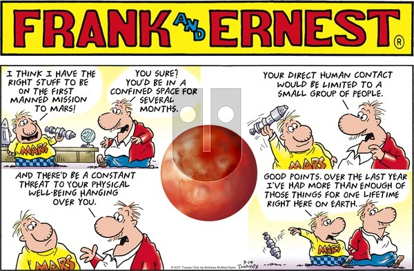 Frank and Ernest on Sunday March 14, 2021 Comic Strip
