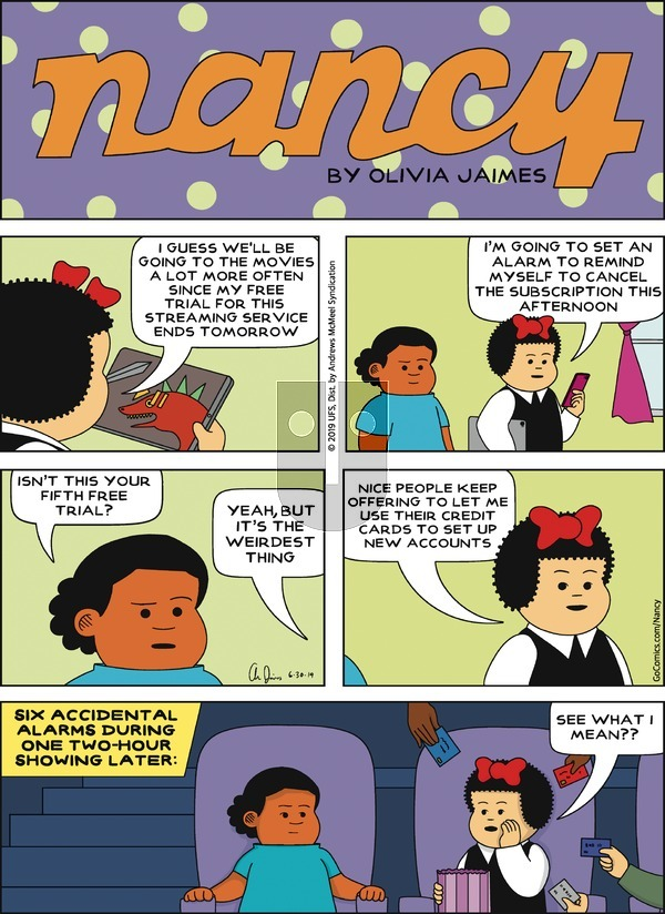 Nancy on Sunday June 30, 2019 Comic Strip