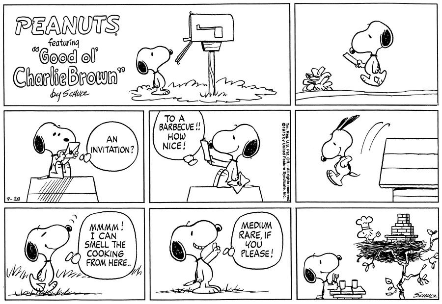 Peanuts Comic Strip for September 28, 1975