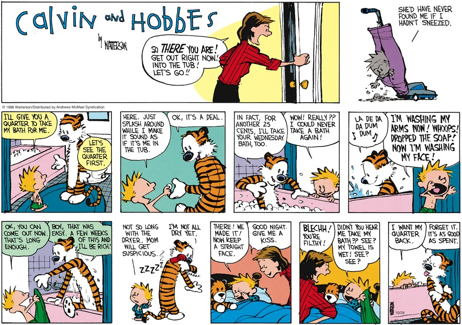 Calvin and Hobbes by Bill Watterson for October 28, 2018