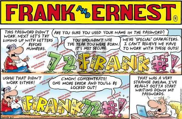 Frank and Ernest on Sunday June 3, 2018 Comic Strip