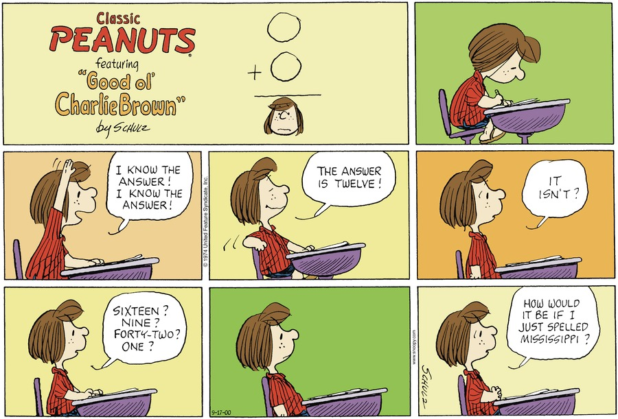 Peanuts Comic Strip for September 17, 2000