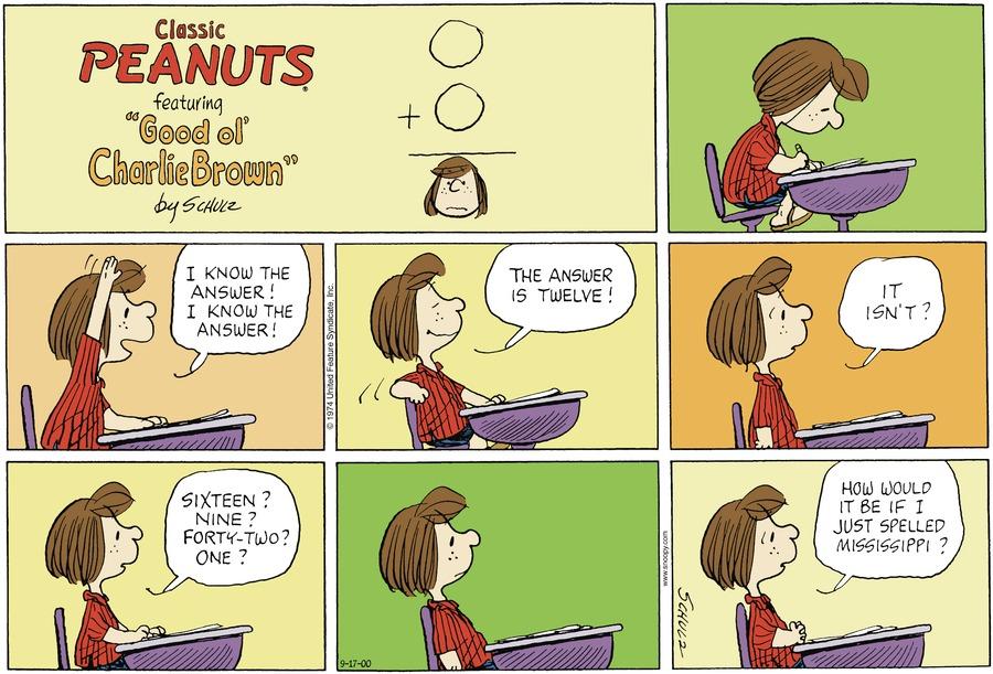 Peanuts Comic Strip for September 17, 2000