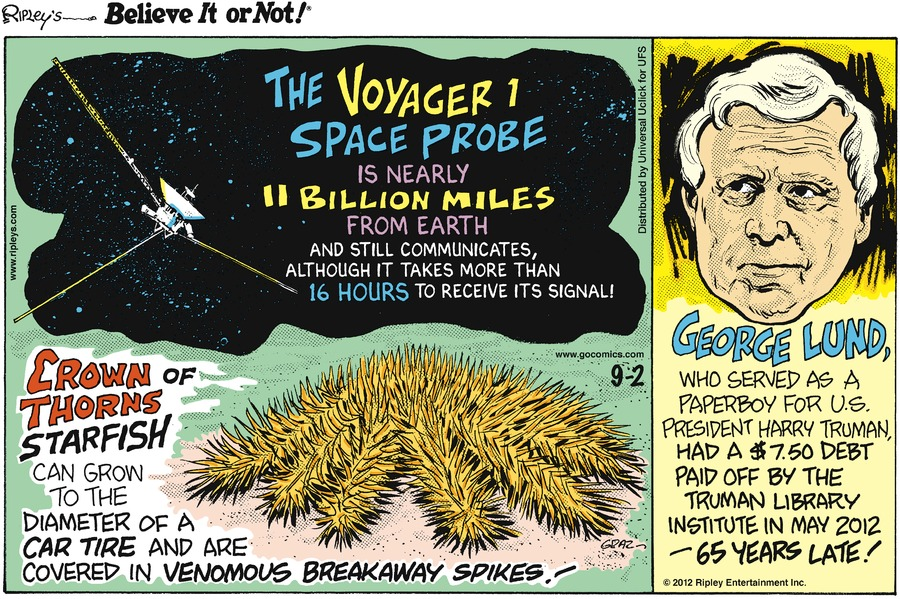 Ripley's Believe It or Not for Sep 2, 2012 Comic Strip