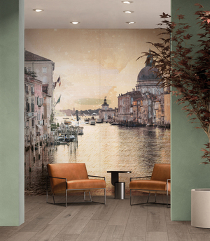Tile murals, like those hand-painted on walls, can transport to other worlds. ABK Wide and Style's Nuovi Mondi collection celebrates Italian cityscapes, in this image Venice. The optical effects and visual experimentations that led to the emergence of the first cinemas in the 19th century are recreated against the backdrop of these original views, designed to transcend the two-dimensionality of the surfaces and capture the essence of the people living there.