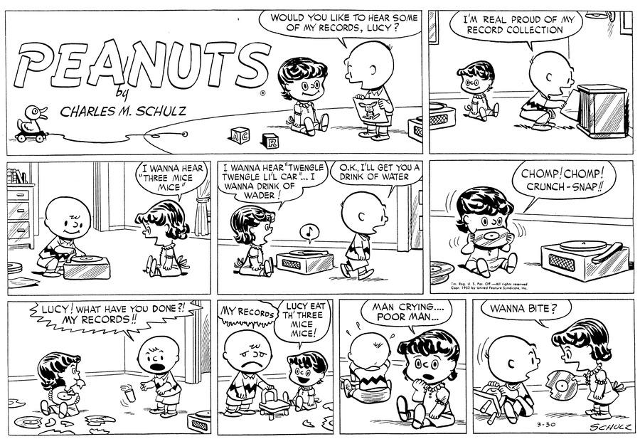 Peanuts Comic Strip for March 30, 1952