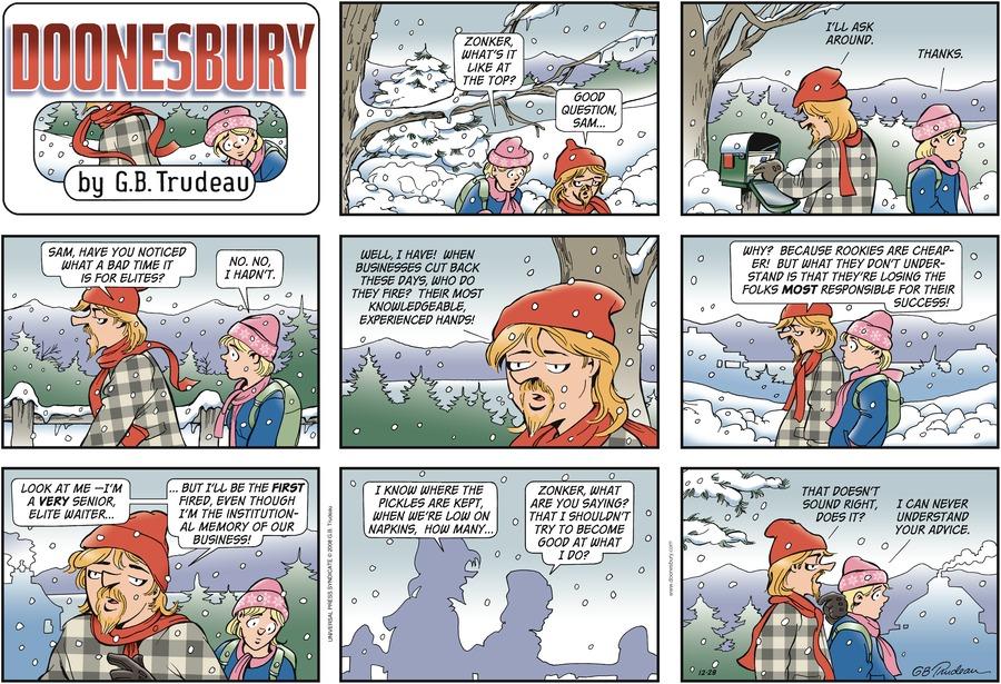 Doonesbury Comic Strip for December 28, 2008
