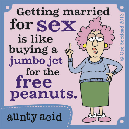 Getting married for sex is like buying a jumbo jet for the free peanuts.
