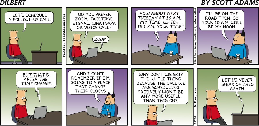 Scheduling A Call - Dilbert by Scott Adams