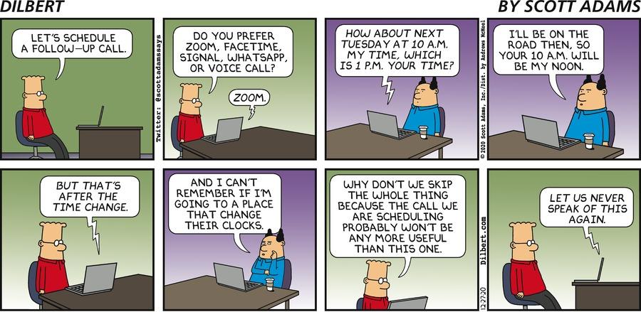 Scheduling A Call - Dilbert by Scott Adams