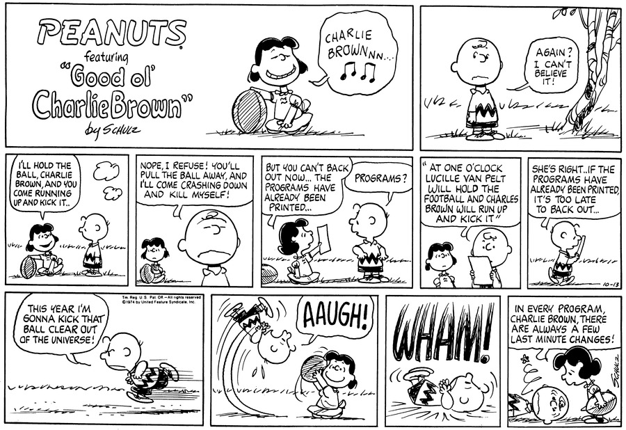 Peanuts Comic Strip for October 13, 1974