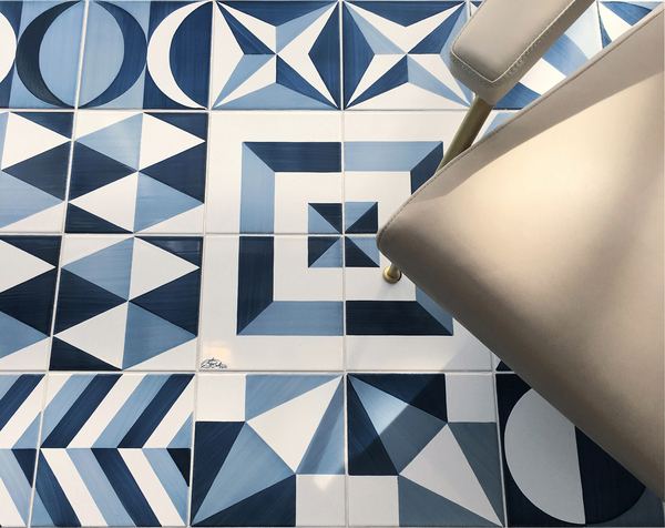 Retro style is one of the main trends in tile design, as is a fondness for geometry. This particular collection of patterns was originally designed for Italy's Hotel Parco Dei Principi in Sorrento in the 1960s by architect Gio Ponti. The famous Blu Ponti majolica tiles are available in a series of 30 blue-and-white decorations on an 8-by-8-inch format from Ceramica Francesco de Maio.