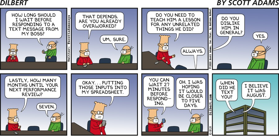 When To Reply To Boss Text  - Dilbert by Scott Adams