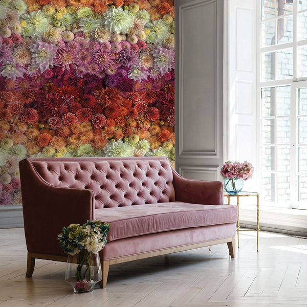 The definition, color range and vibrancy of these giant blooms is extraordinary. Dahlia Gradient is a new wallcovering from Tempaper, so lifelike, like a huge blooming garden year-round. Best of all -- the paper is peel-off. The custom design, which features the work of photographer Brittany Wright, is digitally printed on demand, on high-quality, self-adhesive fabric, so lead times can be longer than usual.