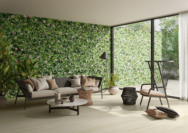 Glossy green foliage is punctuated by chromatic depth and shading, with the lifelike color of the climbing rose. Coral Rose is part of the Limpha collection from Casalgrande Padana. The sustainable technological material -- porcelain stoneware, is almost 4 by 8 feet by about 1/4-inch thick, and not only can it be used outdoors (extending the wall, as shown), it creates better air quality. The Bios Self-Cleaning technology allows these large slabs to reduce air pollutants and decompose dirt deposits in the presence of sunlight, washed away by rainwater thanks to the superhydrophilicity of the ceramic surface. It's a tech that comes from photocatalysis, developed by Toto, a world-leading sanitary ware manufacturer.