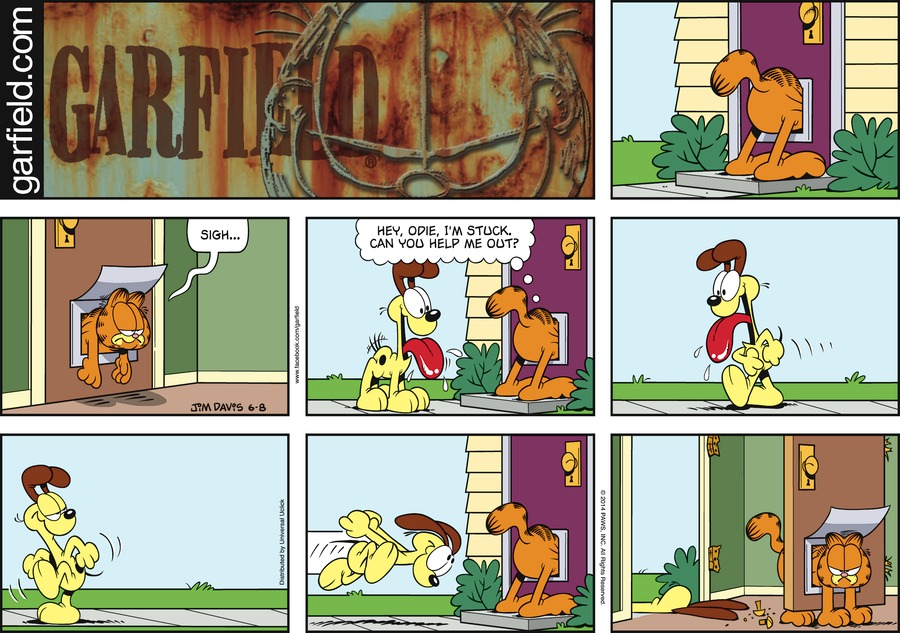 Garfield:  Sigh...  Garfield:  Hey, Odie, I'm stuck can you help me out?