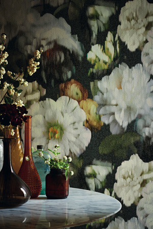 Like an exploded still life on the walls, this rich floral from the Herbaria collection of Black Edition, a division of the Romo Group, is seductive. It's inspired by Dutch Masters paintings, and expressed in a vinyl wallcovering embossed for added depth and texture. There are matching velvets in the collection.