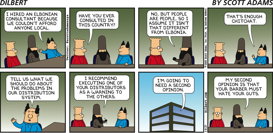 Elbonian Consultant - Dilbert by Scott Adams