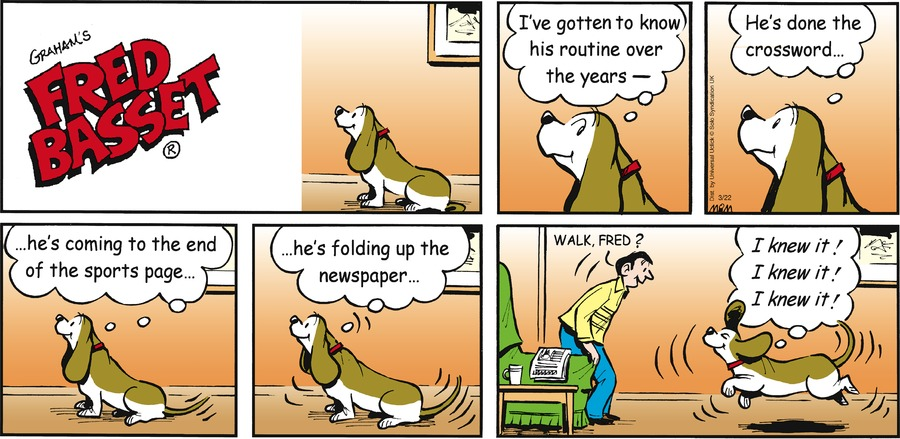 Fred Basset Comic Strip for March 22, 2015