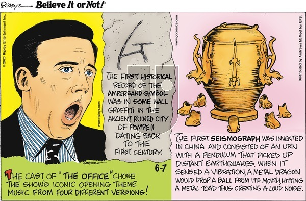 Ripley's Believe It or Not on Sunday June 7, 2020 Comic Strip