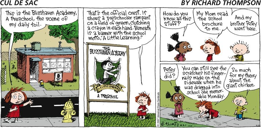 Cul de Sac for Sep 23, 2007 Comic Strip