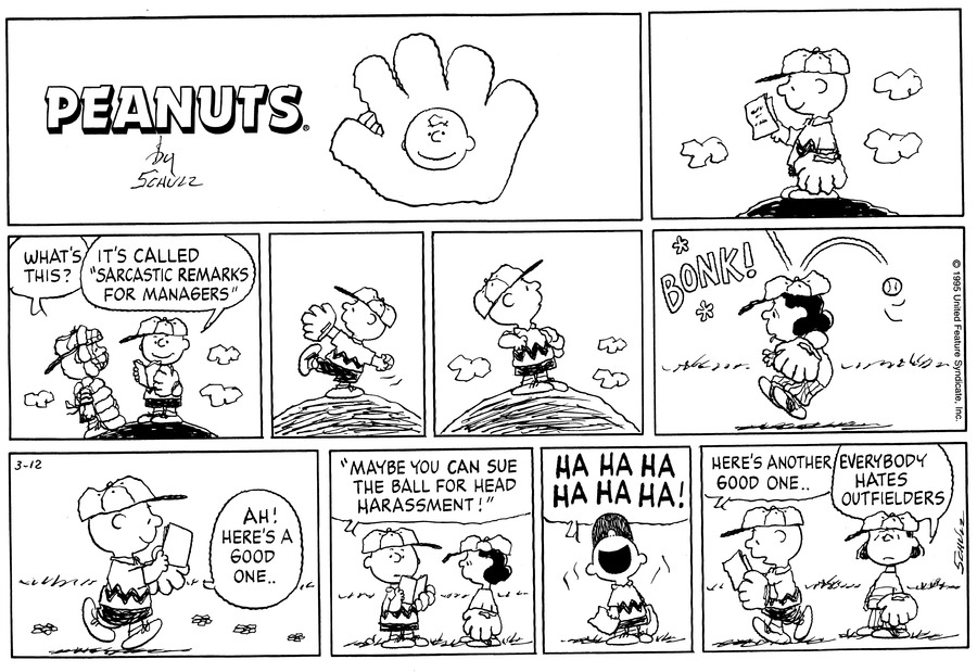 Peanuts Comic Strip for March 12, 1995