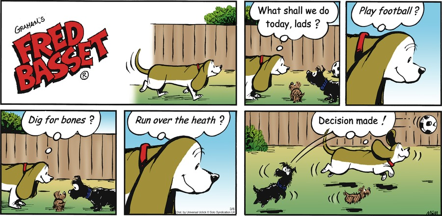 Fred Basset Comic Strip for March 06, 2016