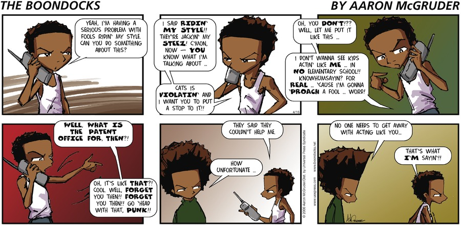 The Boondocks Comic Strip for April 16, 2000