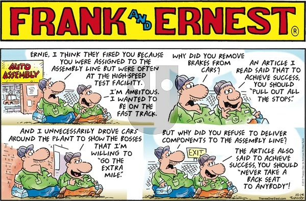 Frank and Ernest on Sunday October 14, 2018 Comic Strip
