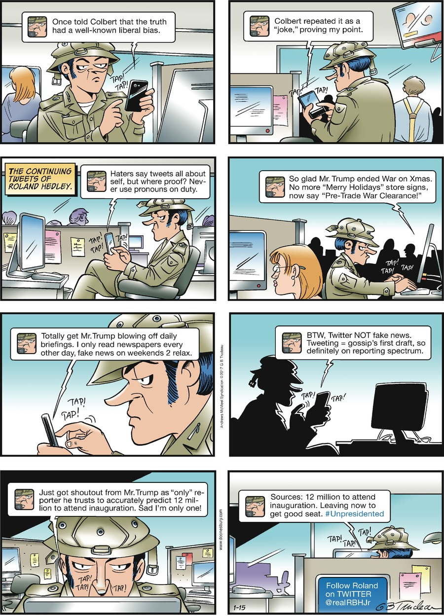 Doonesbury for Jan 15, 2017 Comic Strip