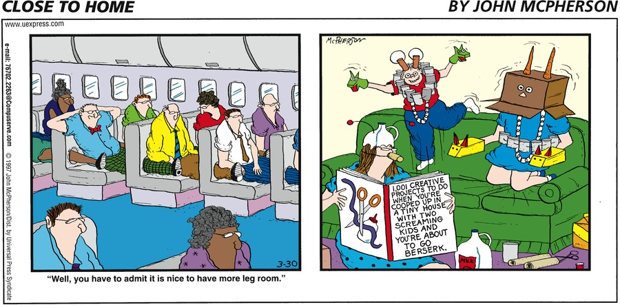 "Panel 1: ""Well, you have to admit it is nice to have more leg room."""
