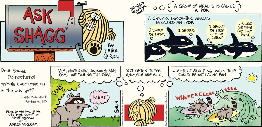 Ask Shagg for Aug 18, 2013 Comic Strip
