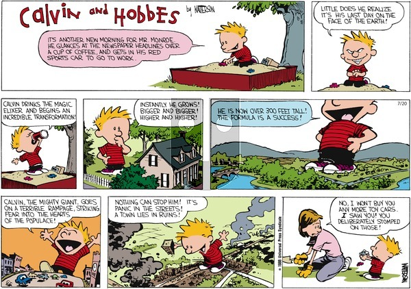 Calvin and Hobbes - Sunday July 20, 1986 Comic Strip