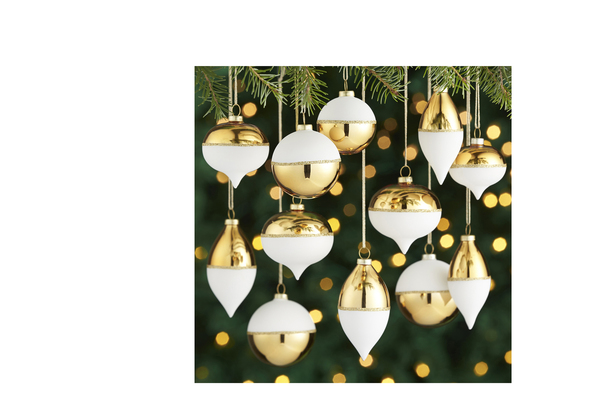 So on trend are these matte cream and shiny gold metallic ornaments with skinny borders of glittery gold, they're especially enchanting in multiples, suspended at different heights.
