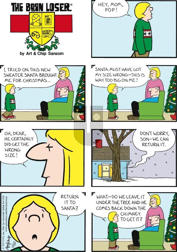 The Born Loser on Sunday December 27, 2015 Comic Strip