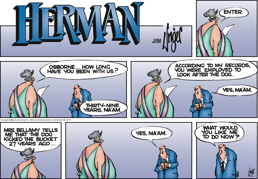 Herman Comic Strip for December 28, 2014