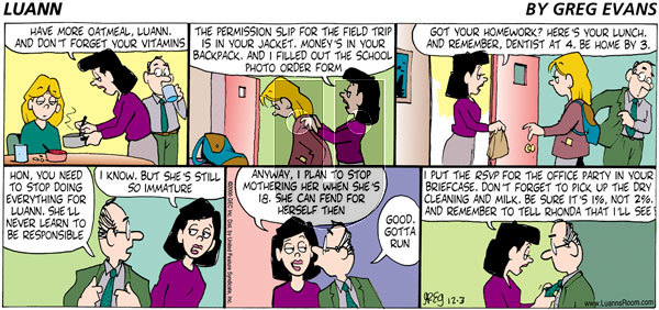 Luann on Sunday December 3, 2000 Comic Strip