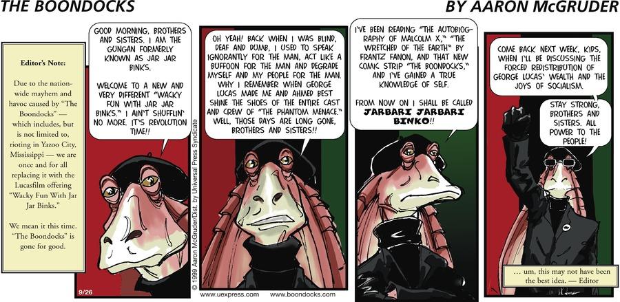 The Boondocks Comic Strip for September 26, 1999