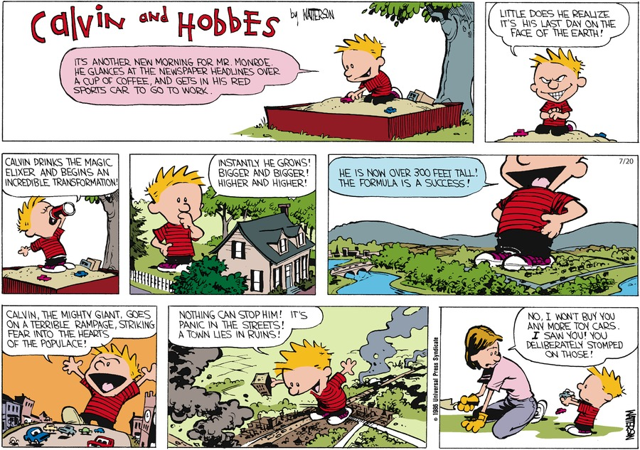 Calvin and Hobbes Comic Strip for July 20, 1986