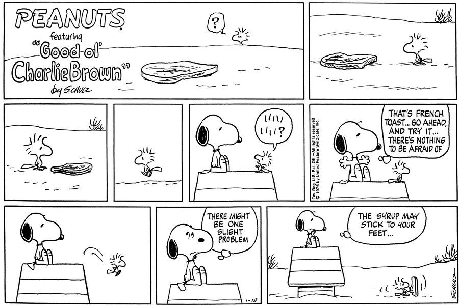 Peanuts Comic Strip for January 18, 1976